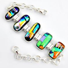 925 sterling silver 62.04cts multi color dichroic glass tennis bracelet r9592