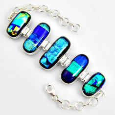 85.46cts multi color dichroic glass 925 sterling silver tennis bracelet r9594