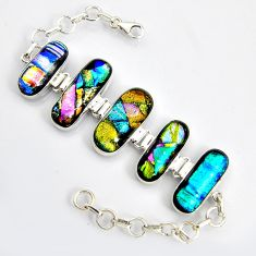 71.47cts multi color dichroic glass 925 sterling silver tennis bracelet r9595