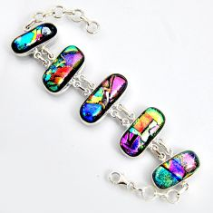 89.52cts multi color dichroic glass 925 sterling silver tennis bracelet r9596