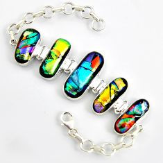925 sterling silver 56.91cts multi color dichroic glass tennis bracelet r9597