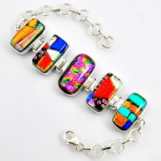 72.98cts multi color dichroic glass 925 sterling silver tennis bracelet r9599