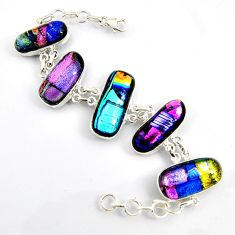 925 sterling silver 87.09cts multi color dichroic glass tennis bracelet r9600