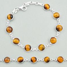 23.17cts natural brown tiger's eye 925 sterling silver tennis bracelet t19700