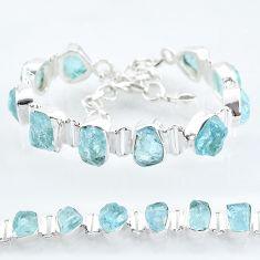 34.96cts natural aqua aquamarine raw 925 silver tennis bracelet t6696