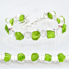 39.91cts natural green peridot raw 925 sterling silver tennis bracelet t6731