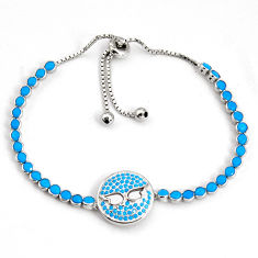 6.92cts adjustable blue sleeping beauty turquoise silver tennis bracelet c5001