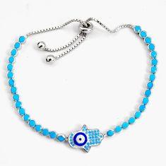 6.02cts adjustable blue sleeping beauty turquoise silver tennis bracelet c5023