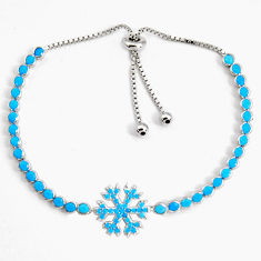 6.53cts adjustable blue sleeping beauty turquoise silver tennis bracelet c5035