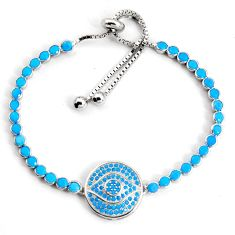 6.72cts adjustable blue sleeping beauty turquoise silver tennis bracelet c5057