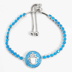 7.22cts adjustable blue sleeping beauty turquoise silver tennis bracelet c5059