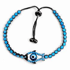 Adjustable rhodium blue evil eye talismans 925 silver tennis bracelet c5093