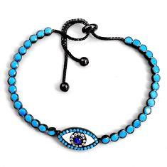 6.02cts adjustable rhodium blue sleeping beauty turquoise silver bracelet c5079