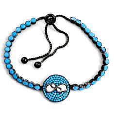 7.21cts adjustable rhodium sleeping beauty turquoise 925 silver bracelet c5062
