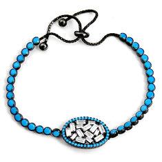 12.04cts adjustable rhodium sleeping beauty turquoise 925 silver bracelet c5070