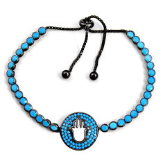 7.22cts adjustable rhodium sleeping beauty turquoise 925 silver bracelet c5080