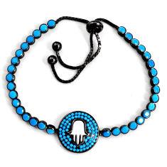 Adjustable rhodium sleeping beauty turquoise silver tennis bracelet c5088