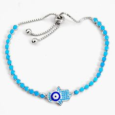 6.15cts adjustable sleeping beauty turquoise 925 silver tennis bracelet c5026