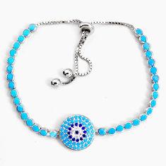 8.00cts adjustable sleeping beauty turquoise 925 silver tennis bracelet c5046