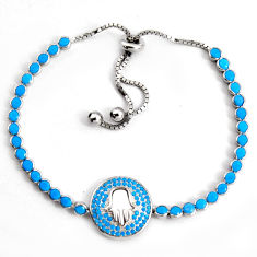 7.10cts adjustable sleeping beauty turquoise 925 silver tennis bracelet c5083