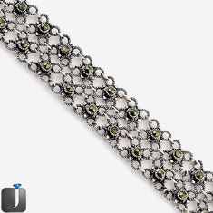 ART DECO SWISS MARCASITE FLOWER 925 STERLING SILVER LINK BRACELET JEWELRY F75124