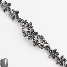 ART DECO SWISS MARCASITE FLOWER 925 STERLING SILVER LINK BRACELET JEWELRY F75125