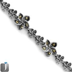 ART DECO SWISS MARCASITE FLOWER 925 STERLING SILVER LINK BRACELET JEWELRY F75128