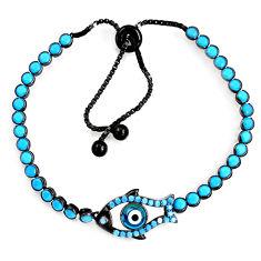 6.72cts black rhodium blue evil eye talismans silver adjustable bracelet c5601