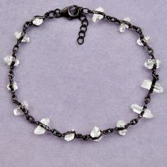 15.93cts black rhodium natural white herkimer diamond 925 silver bracelet p91798