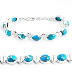 33.59cts blue copper turquoise 925 sterling silver tennis bracelet p48106