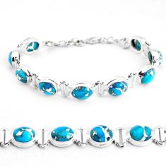 34.69cts blue copper turquoise 925 sterling silver tennis bracelet p48109