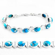 33.28cts blue copper turquoise 925 sterling silver tennis bracelet p48112