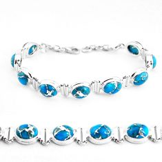 33.46cts blue copper turquoise 925 sterling silver tennis bracelet p48118