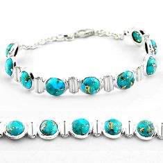 26.01cts blue copper turquoise 925 sterling silver tennis bracelet p81441