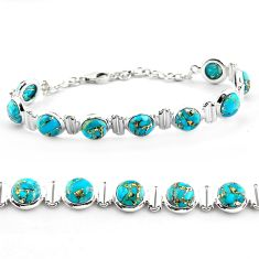 26.35cts blue copper turquoise 925 sterling silver tennis bracelet p81442