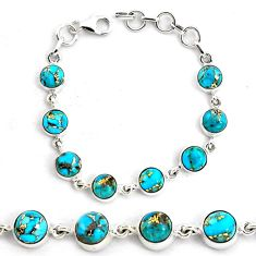 17.05cts blue copper turquoise 925 sterling silver tennis bracelet p87839