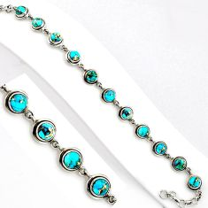 16.50cts blue copper turquoise 925 sterling silver tennis bracelet p89126