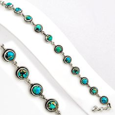 16.22cts blue copper turquoise 925 sterling silver tennis bracelet p89129