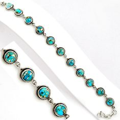 16.50cts blue copper turquoise 925 sterling silver tennis bracelet p89130