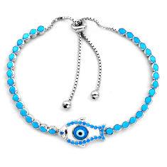 6.53cts blue evil eye talismans 925 silver tennis adjustable bracelet c4966