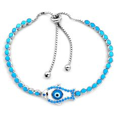 6.53cts blue evil eye talismans 925 silver tennis adjustable bracelet c4967