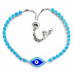 6.20cts blue evil eye talismans 925 silver tennis adjustable bracelet c4976