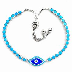 5.95cts blue evil eye talismans 925 silver tennis adjustable bracelet c4978