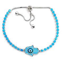 6.53cts blue evil eye talismans 925 silver tennis adjustable bracelet c4979