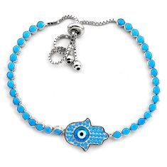 6.53cts blue evil eye talismans 925 silver tennis adjustable bracelet c4982