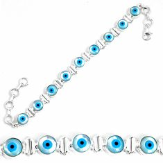24.75cts blue evil eye talismans 925 sterling silver tennis bracelet p34545