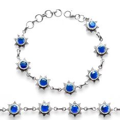 9.57cts blue sapphire (lab) 925 sterling silver tennis bracelet p68021