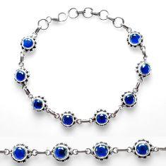 10.79cts blue sapphire (lab) 925 sterling silver tennis bracelet p68023