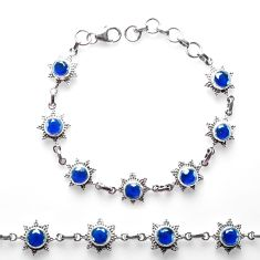 9.37cts blue sapphire (lab) 925 sterling silver tennis bracelet p68026