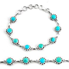 9.81cts blue sleeping beauty turquoise 925 silver tennis bracelet p68108